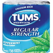 TUMS Regular Strength Antacid Chewable Tablets, Peppermint 36 ea (Pack of 6)