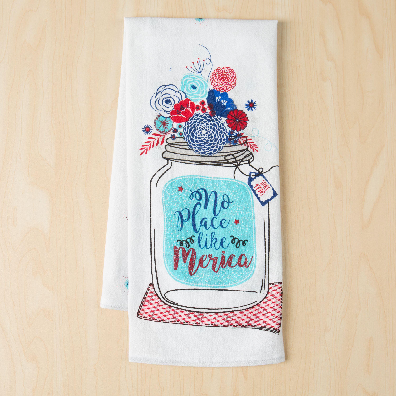 Mainstays Summer Flour Sack Kitchen Towel, Mason Jar America Print ...