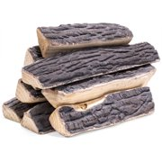 8-Pieces Fireplace Logs Ceramic Log Stack Wood Gas Realistic Logs Set Firebox Indoor / Outdoor