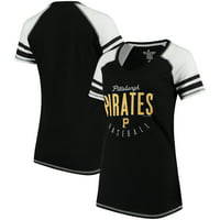 Pittsburgh Pirates Soft As A Grape Women's Down the Line Color Blocked Tri-Blend V-Neck Raglan Sleeve T-Shirt - Black