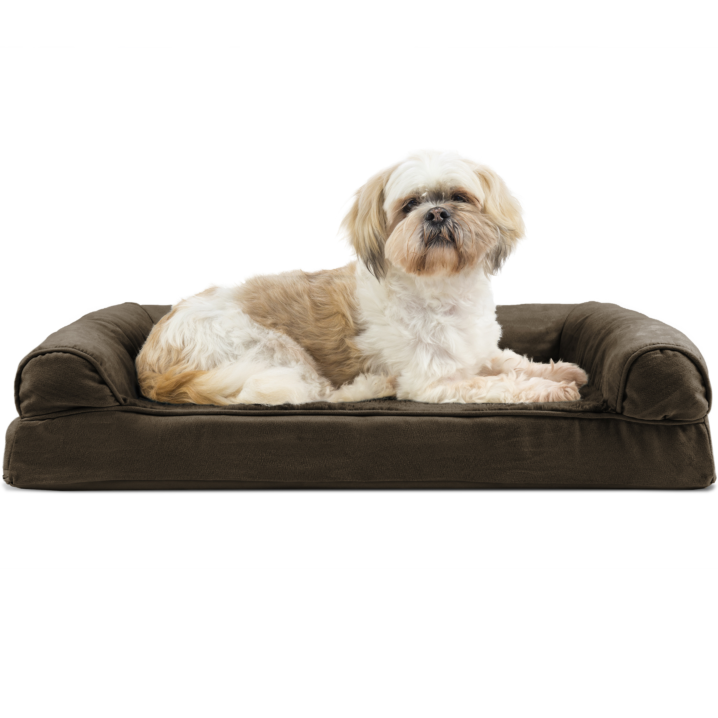 FurHaven Pet Dog Bed | Orthopedic Ultra Plush Sofa-Style Couch Pet Bed for Dogs & Cats, Espresso, Medium