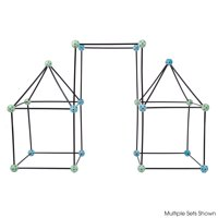 Construction Fort Building Toy Set for Kids with 60 Pieces - Build and Play Kit for Indoor and Outdoor Use by Hey! Play!