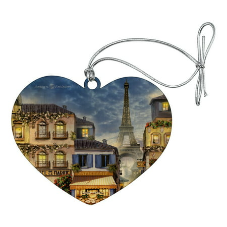 Old Paris France Eiffel Tower Heart Love Wood Christmas Tree Holiday Ornament ()