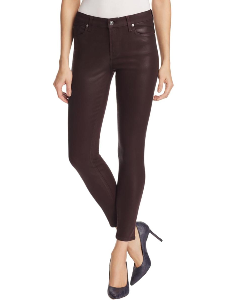 7 For All Mankind Womens Faux Leather Ankle Skinny Jeans