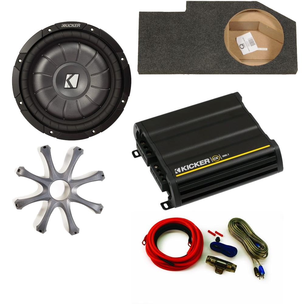 "Kicker for Dodge Ram Quad/Crew Cab 02-15 10"" Kicker CompVT sub in under-seat box w/ grille, 300 Watt amp, and wiring kit"