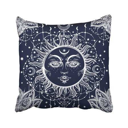 ARTJIA Beautiful Floral Paisley Sun Face Medallion Ethnic And Detailed Henna Fabrics Coloring Pillowcase Cover 18x18 (Face Medallion)