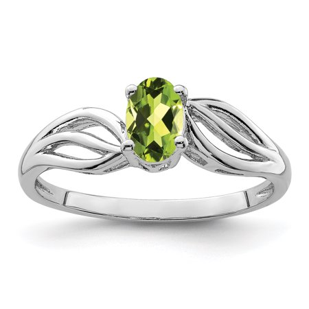 925 Sterling Silver Green Peridot Band Ring Size 7.00 Birthstone August Gemstone Gifts For Women For Her