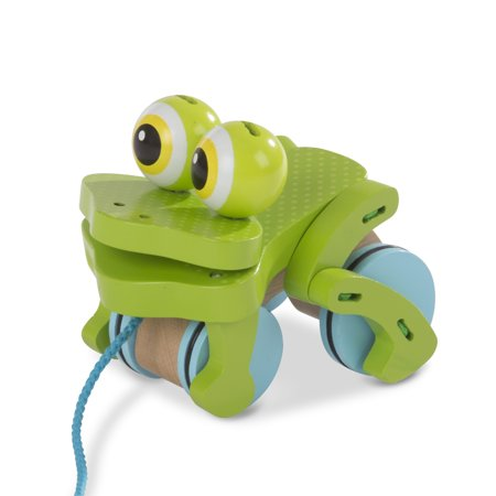 Melissa & Doug First Play Frolicking Frog Wooden Pull Toy (Frolicking Frog Pull Toy)