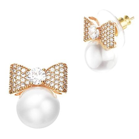 Less Fashion Hypoallergenic Surgical Steel Dangle Stud Bow Pearl Earrings In Gift Box Edgpbgld