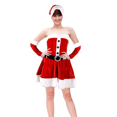 Santa Outfit Women (Sexy Santa Costume Women's Christmas Cosplay Xmas Outfits Fancy Dress Suit)