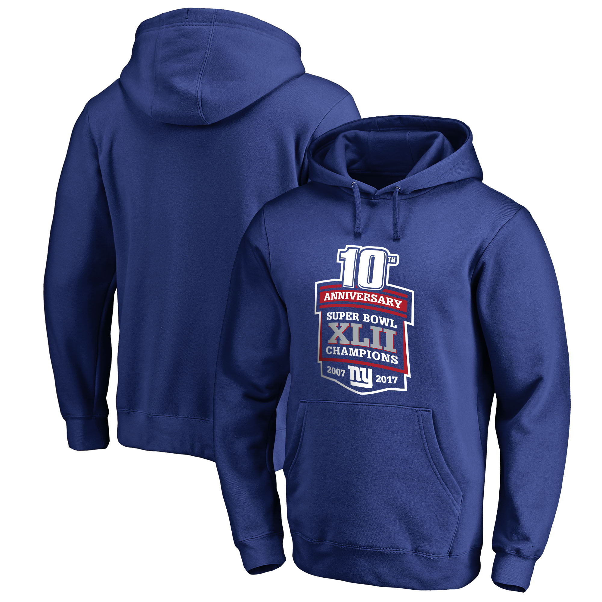 New York Giants NFL Pro Line by Fanatics Branded Super Bowl XLII 10-Year Anniversary Pullover Hoodie - Royal