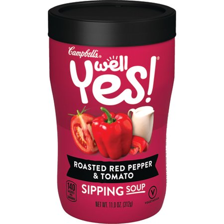 (6 pack) Campbell's Well Yes! Sipping Soup, Roasted Red Pepper & Tomato, 11.1 oz.