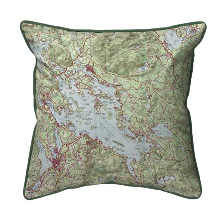 Betsy Drake SN967 12 x 12 in. Lake Winnipesaukee, NH Nautical Map Small Corded Indoor & Outdoor Pillow - image 1 de 1