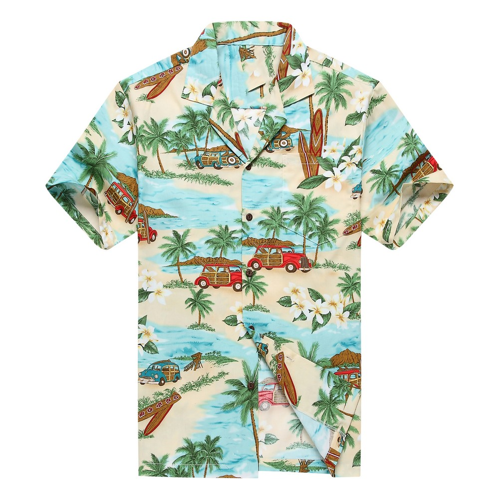 Men's Hawaiian Shirt Blue Gray Surfboards, Aloha Shirts for Men, Cotton Hawaiian Shirt