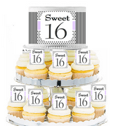 Sweet 16 Lavendar Stripes and Polka Dot  Edible Photo Toppers  & Edible Cupcake Decoration Kit