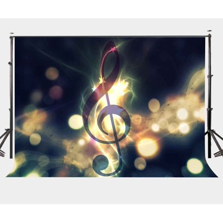 70s Backdrop (MOHome Polyster 7x5ft Music Wall Backdrop Black Note Glittering Lights Musical Notes Photography)