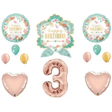 Boho Arrow 3rd Birthday Party Balloons Decoration Supplies Third Rose Gold Chic