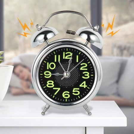 Retro Desktop Mechanical Alarm Clock Luminous Night Light Double Bell Mute Metal Digital Bedroom Home Decoration Metal Alarm Clock Bells