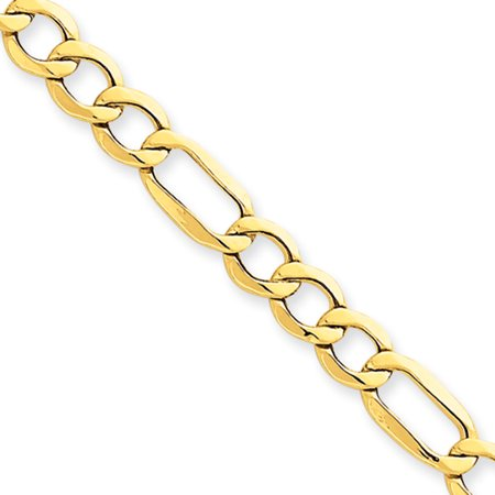 - Men's 6.6mm, 14k Yellow Gold, Hollow Figaro Chain Necklace, 18 Inch