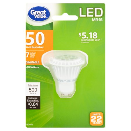 Great Value LED Light Bulb, 7W (50W Equivalent), Dimmable, Soft White, GU10, MR16