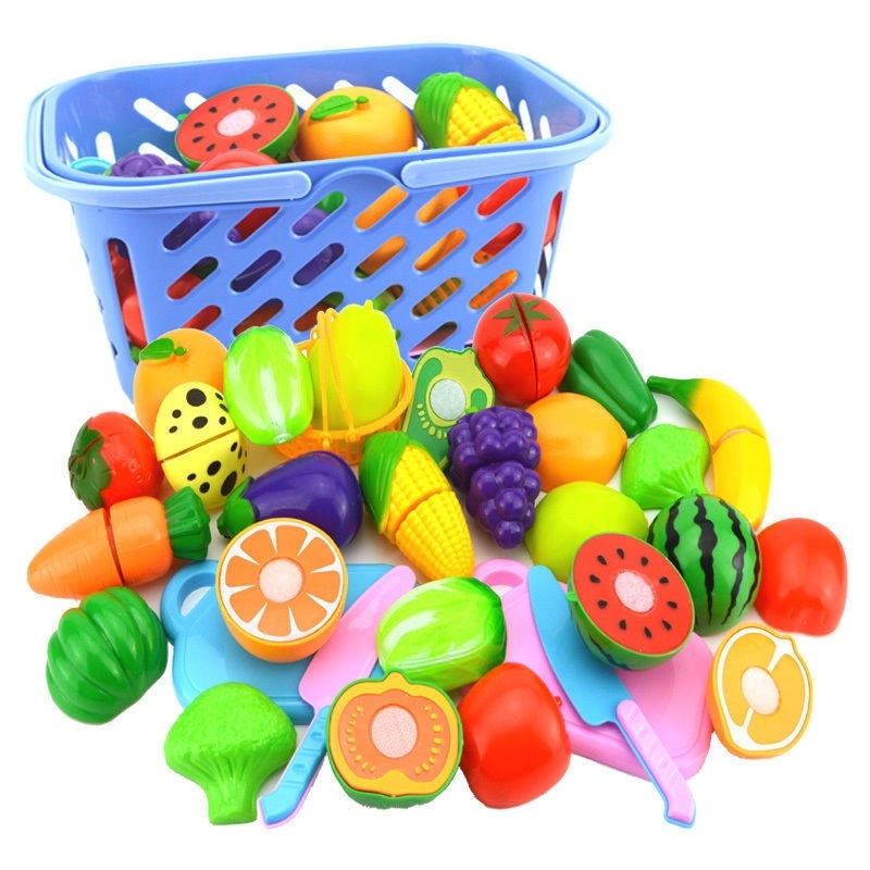 6Pack Plastic Pretend Kitchen Toy Fruit Vegetable Cutting Food Set For Kid Play
