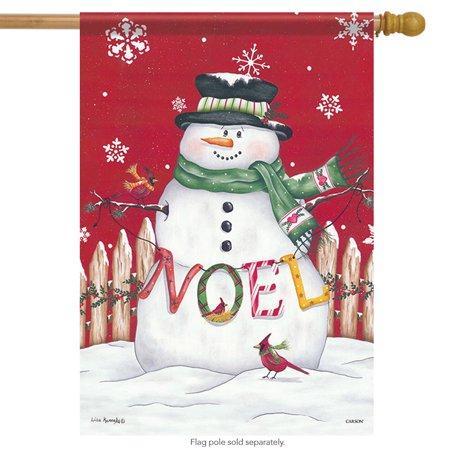 Noel Snowman - Noel Snowman Christmas House Flag Snow Bird Cardinal Holiday Holly 28