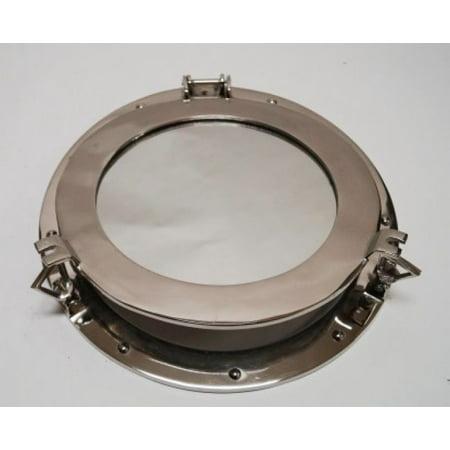 """India Overseas Trading AL48611M Aluminum Chrome Finish Porthole Mirror 15"""""""