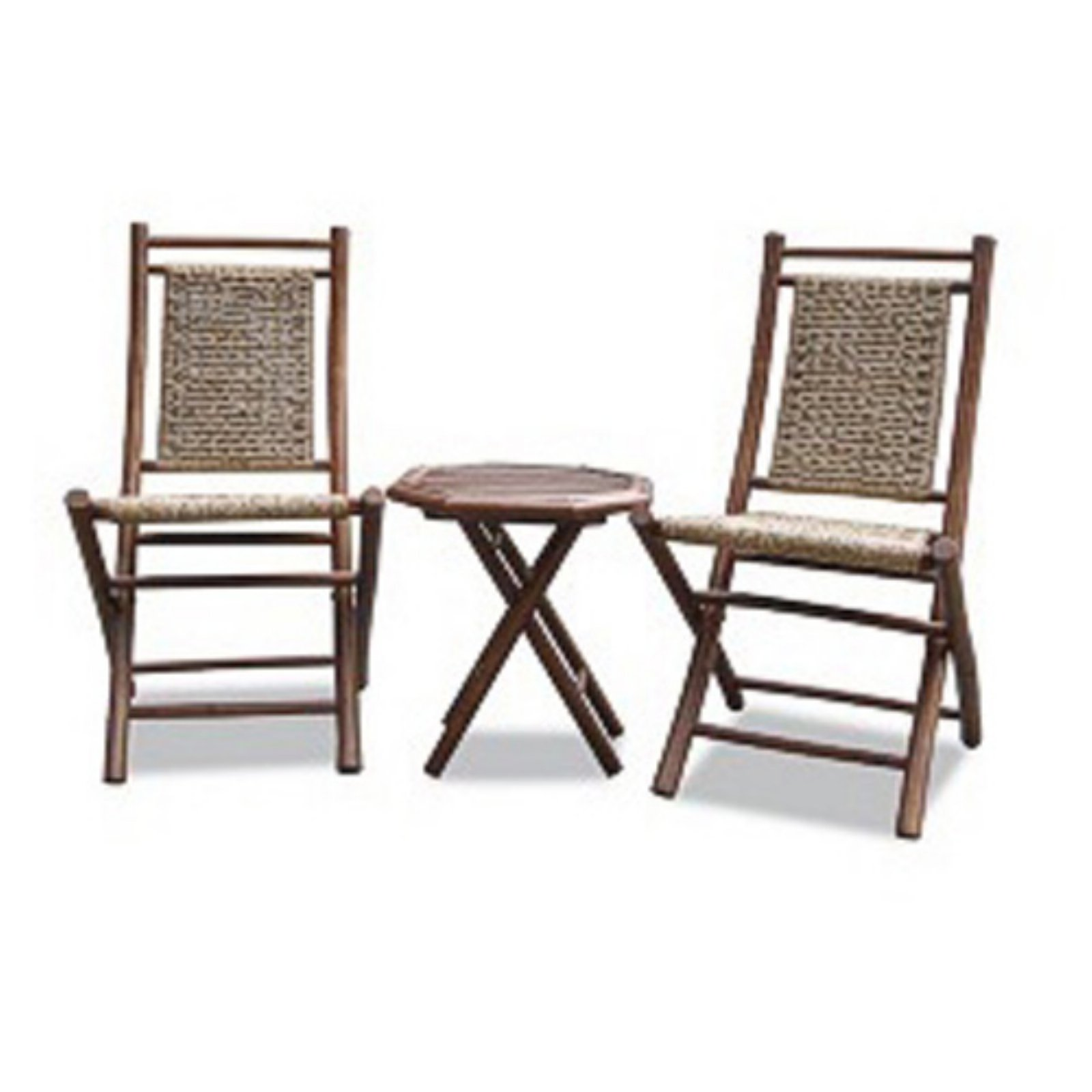 Heather Ann Creations Maui 3 Piece Bamboo Patio Conversation Set