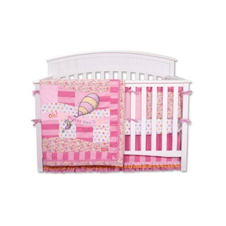 Trend Lab Dr. Seuss Pink Oh! The Places You'll Go! - 4 Piece Crib Bedding Set