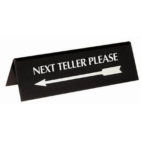 Mmf 283075500 Sign Arrow Pyramid Style   Next Teller Silver   On Black