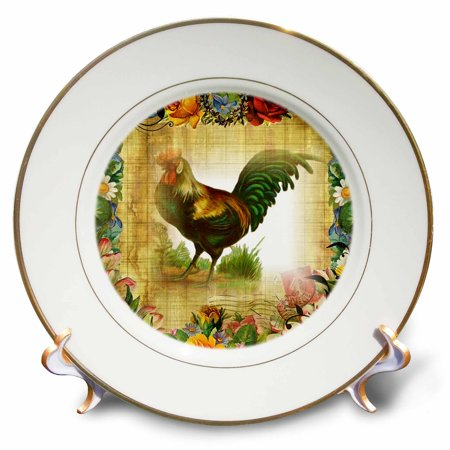 3dRose Image of Country Rooster On Flowered Old Postcard - Porcelain Plate, 8-inch