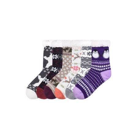 Pack of 3 - Women Thermal Sherpa Lined Cozy Xmas Assorted Non Skid Socks