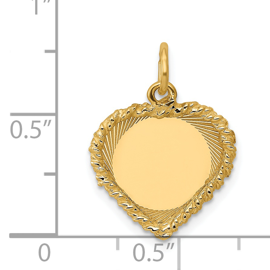 14K Yellow Gold Polished .013 Gauge Engravable Heart with Rope Disc Charm - image 1 of 2