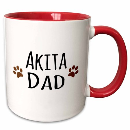 Akita Porcelain - 3dRose Akita Dog Dad with muddy brown paw prints - doggie by breed - doggy love lovers - Two Tone Red Mug, 11-ounce
