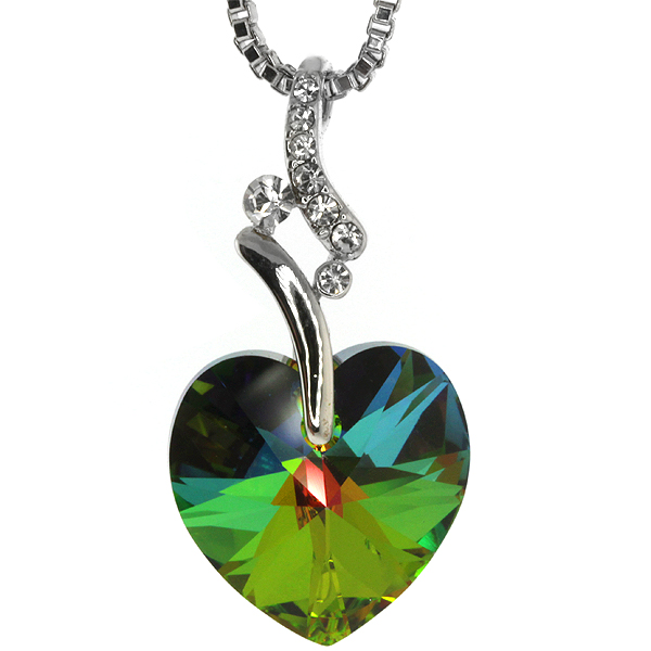 Collection Green Heart Pendant & Chain Created with Swarovski�� Crystals