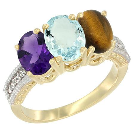 14K Yellow Gold Natural Amethyst, Aquamarine & Tiger Eye Ring 3-Stone 7x5 mm Oval Diamond Accent, sizes 5 - (Amethyst Tiger)