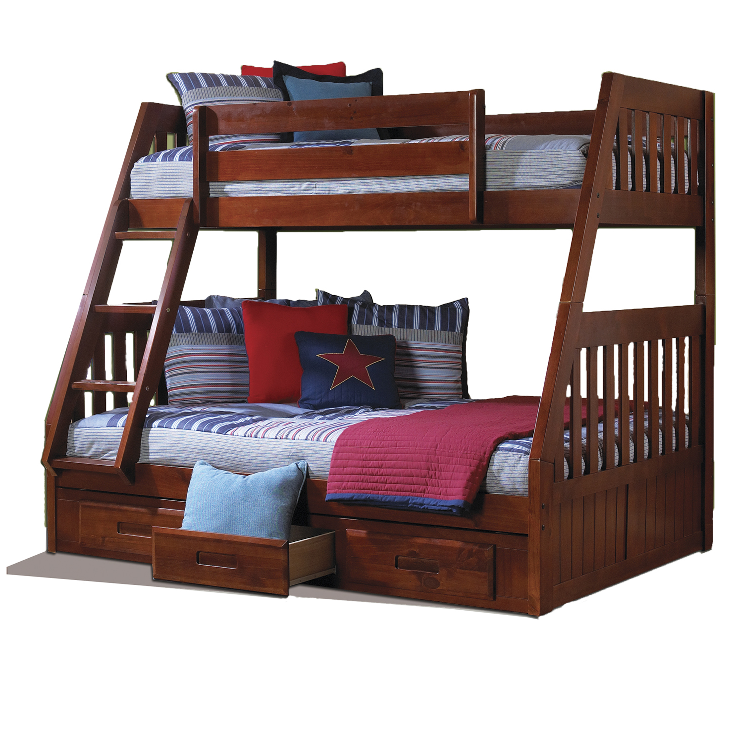 American Furniture Classics Model 2818-TFM, Solid Pine Mission Staircase Twin/Full Bunk Bed with Three Drawers in Merlot.
