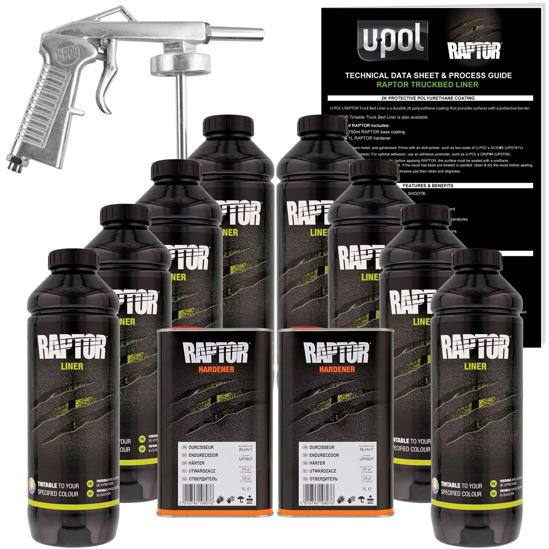 Raptor Tintable Urethane Spray-On Truck Bed Liner Spray Gun, 8 Liters