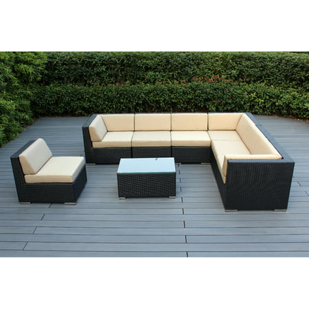 Ohana 8 Piece Outdoor Wicker Patio Furniture Sectional Conversation Set - Black Wicker ()