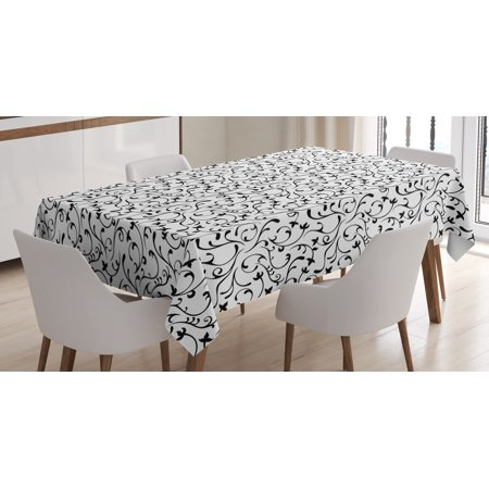 Black and White Tablecloth, Spring Themed Garden Pattern Monochrome Style Traditional Vintage Swirls, Rectangular Table Cover for Dining Room Kitchen, 60 X 90 Inches, Coconut Black, by Ambesonne - Black And White Tablecloth
