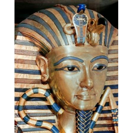 The Gold Mask of Tutankhamen Gold inlaid jewels 1342 BC Egypt Cairo Egyptian Museum Canvas Art -  (24 x 36) (Triton Museum Halloween)