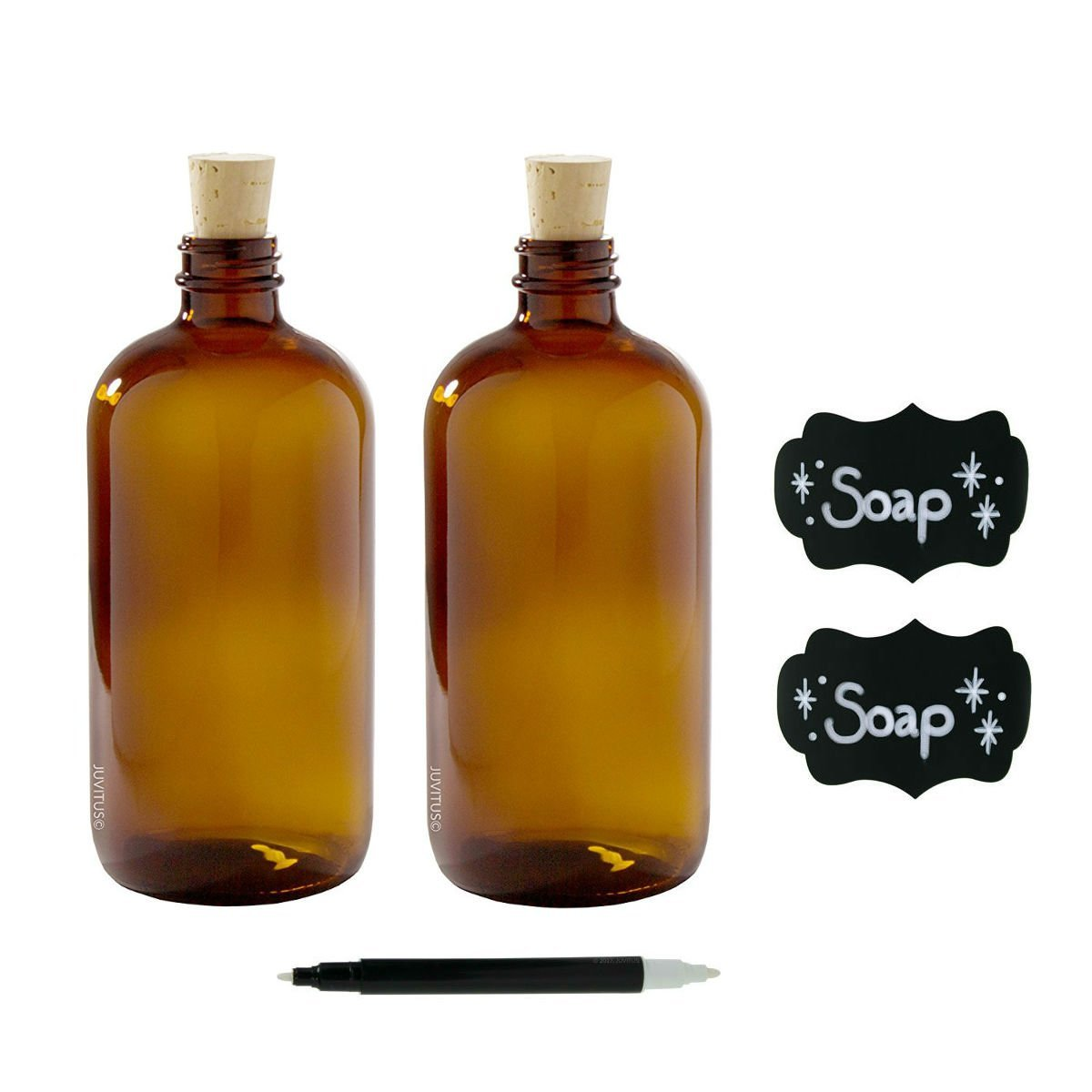 16 oz Amber Glass Boston Round Bottle with Cork Stopper Closure (2 Pack) + Black Chalkboard Labels and Chalkboard Marker