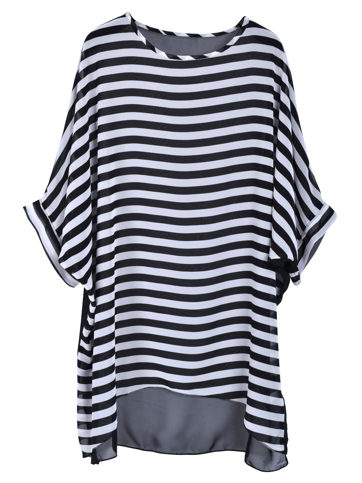 Women's Oversized Stripe Beach Bikini Swimwear Cover-up,Black Stripes