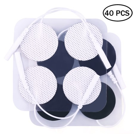 40PCS Round TENS Unit Electrode Pads with Premium Adhesive Gel for EMS & Muscle Stimulators, Comfortable Soft Cloth Backing (1.25