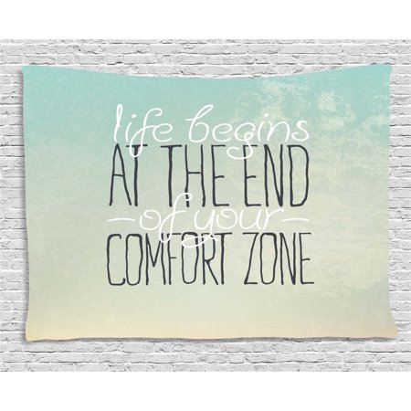Lifestyle Decor Tapestry, Motivational Life Begins at the End of Your Comfort Zone Quote Concept Print, Wall Hanging for Bedroom Living Room Dorm Decor, 60W X 40L Inches, Mint, by Ambesonne - Mint Room Decor