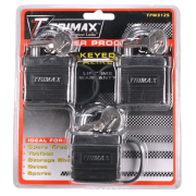 Trimax Keyed-Alike Solid Brass Waterproof Padlock, Pack of 3