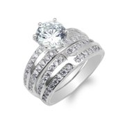 Duo Ladies White Gold Plated Round CZ Cross Engagement Ring Set Size 4-10
