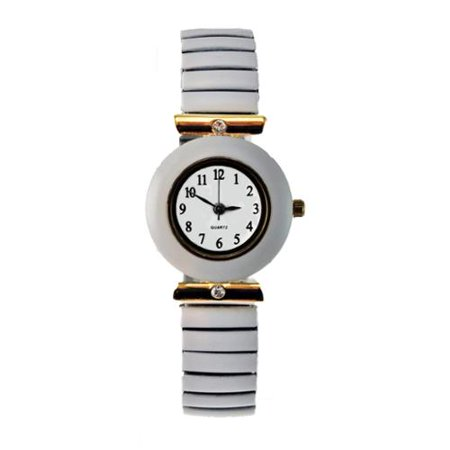 JF Collections Inc Women's Stretch Band Watch with Round Faux Marble Bezel, Crystal Accents, and Easy Read (Band Bezel Wrist Watch)