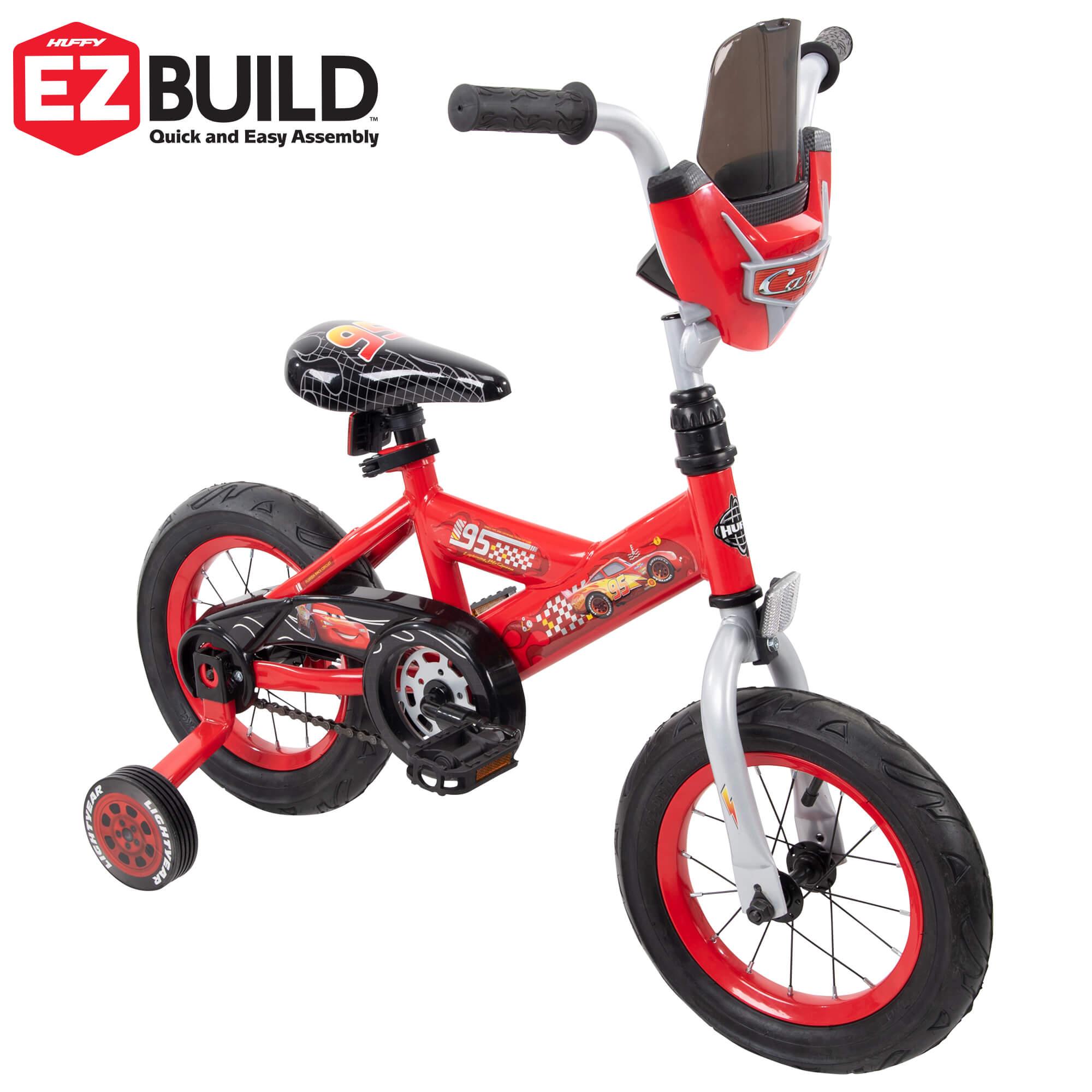 "Huffy 16/"" Disney Pixar Cars Lightning McQueen EZ Build Kids Bike with Sounds,"