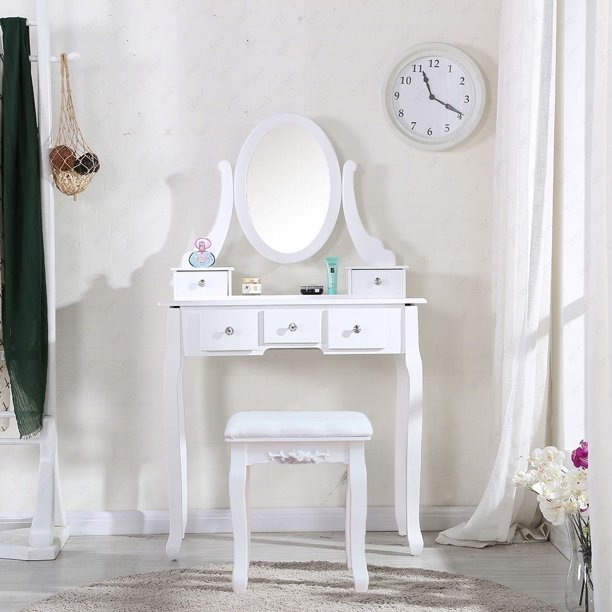 Cushioned Stool Dressing Table, Rotation Removable Mirror Dressing Vanity Table Makeup Desk With Stool White